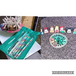 Starbucks BUNDLE 🌈 Straws,💚 Straw,Bag, + Toppers